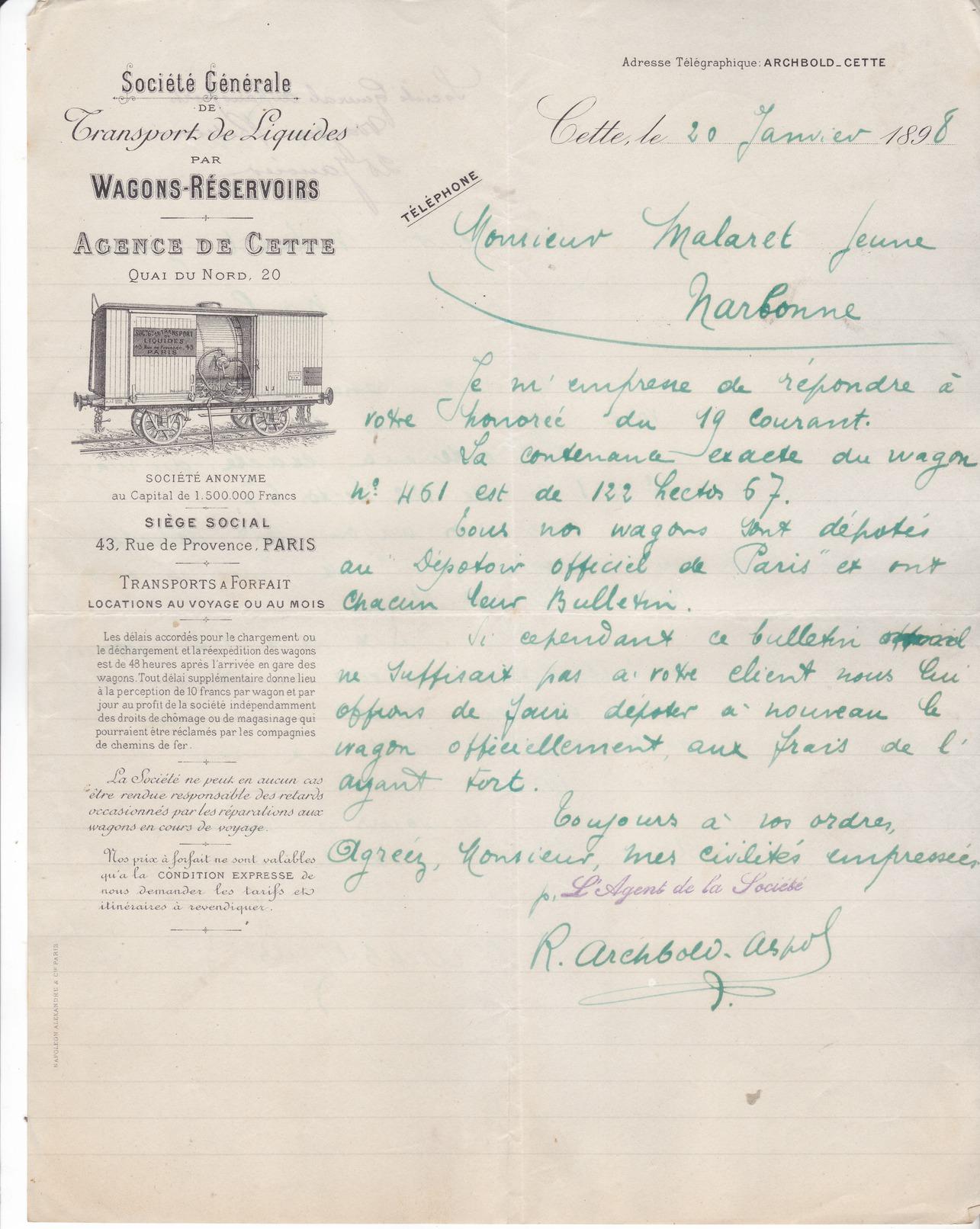 34 Cette ( Sete) Lettre Illustrée De 1898 De La Sté Générale De Transports De Liquides Par Wagons-réservoirs.Tb état. - France