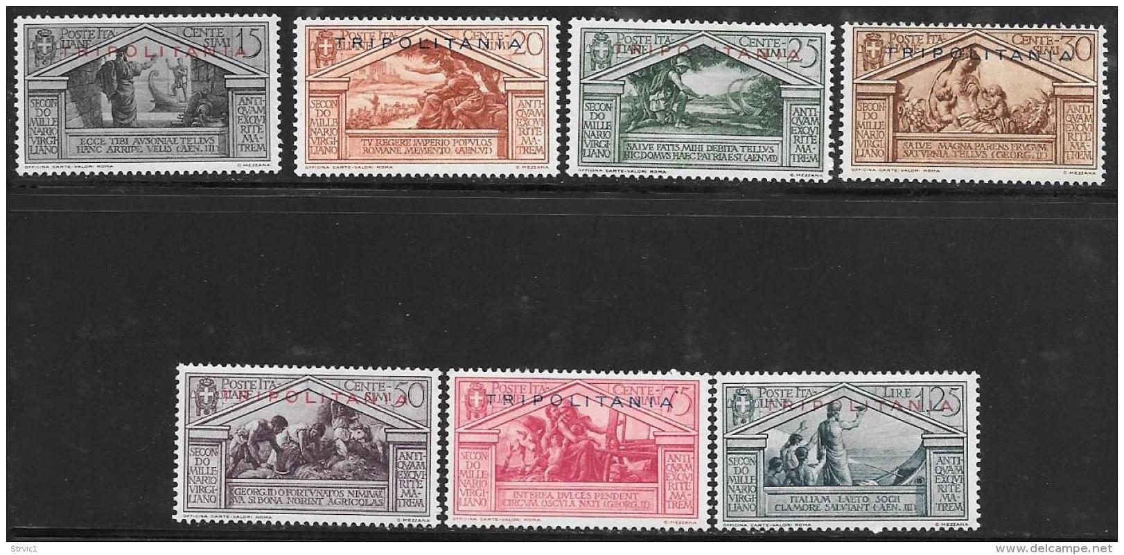 Tripolitania, Scott # 43-9 Mint Hinged Italy Stamps, Virgil, Overprinted, 1930 - Tripolitania