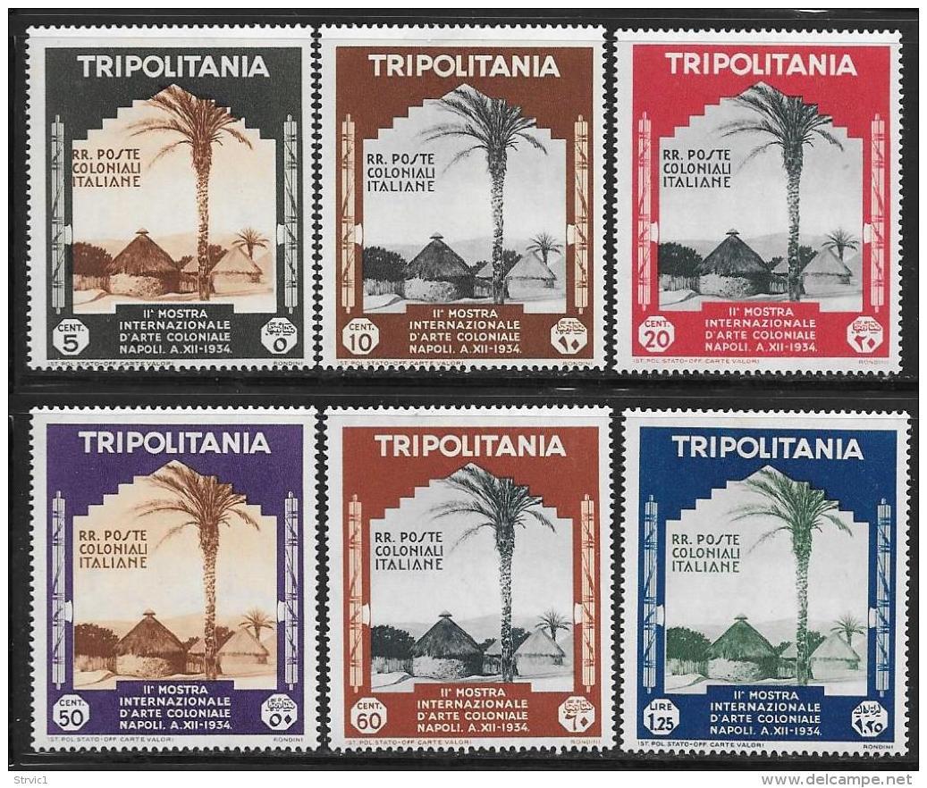 Tripolitania, Scott # 73-8 Mint Hinged Native Village, 1934 - Tripolitania