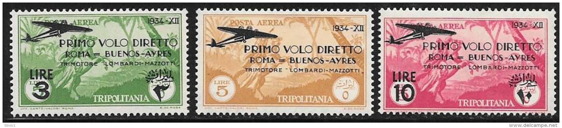 Tripolitania, Scott # C30-2 Mint Hinged Horseman, Overprinted, Surcharged, 1934 - Tripolitania
