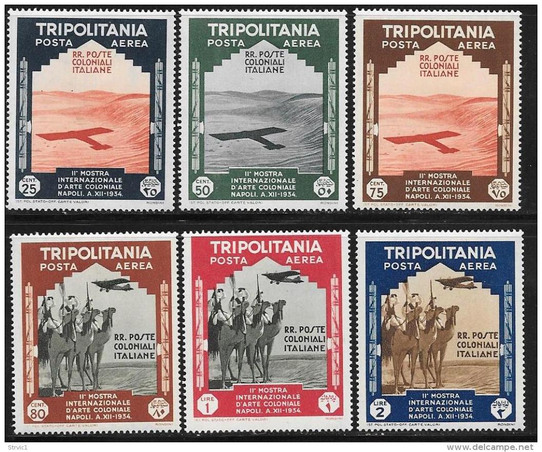 Tripolitania, Scott # C43-8 Mint Hinged Plane Shadow, Camel Corps, 1934 - Tripolitania