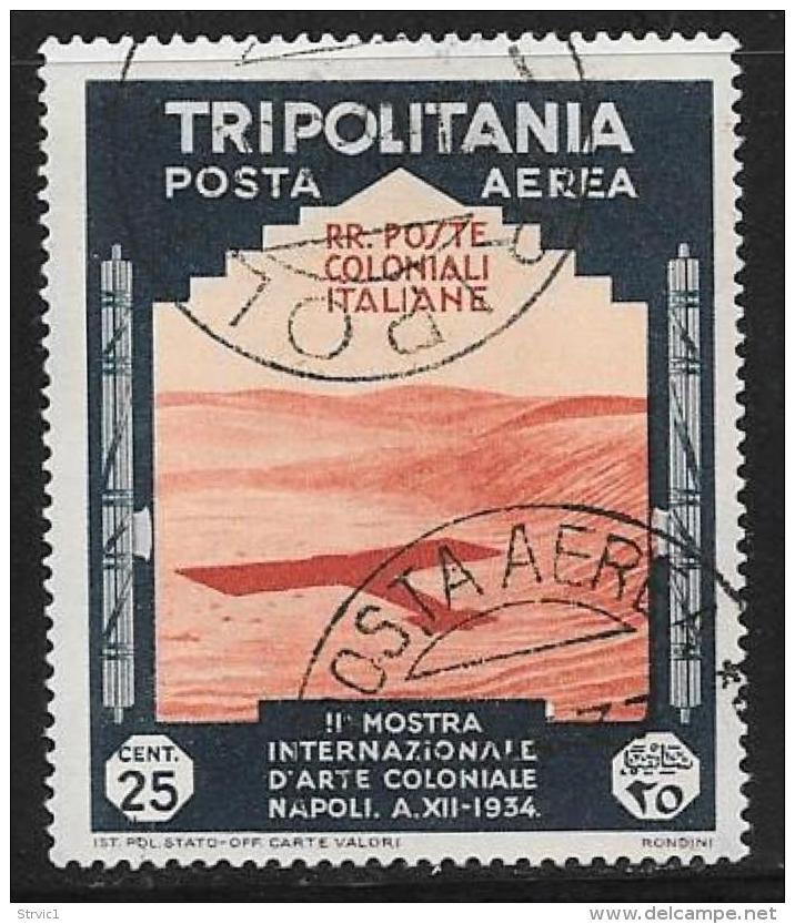 Tripolitania, Scott # C43-8 Used Plane Shadow, Camel Corps, 1934 - Tripolitania