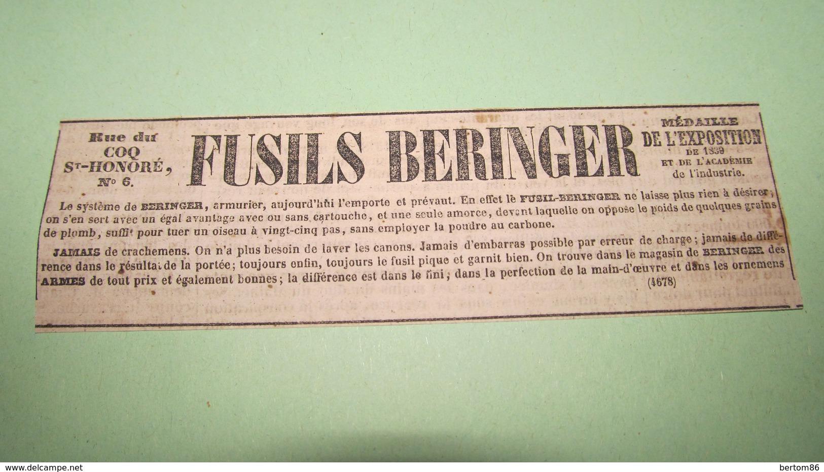FUSILS BERINGER - ANNONCE PUBLICITAIRE DE 1843 ( JOURNAL DES DEBATS ). - Advertising