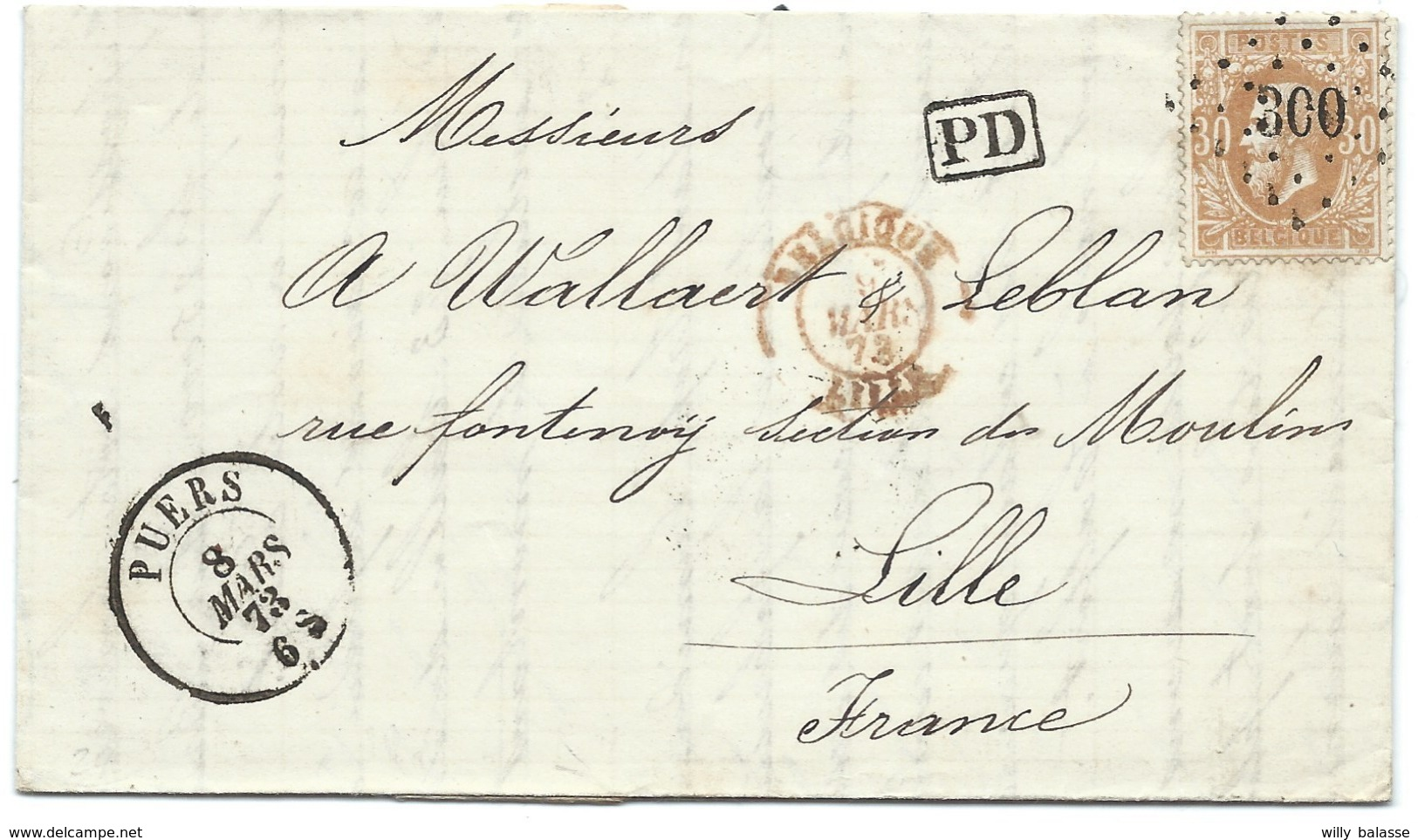 L Datée De Calfort Affr N°33 Lpts 300 PUERS/1873 Pour Lille. Sup - 1869-1883 Leopold II.