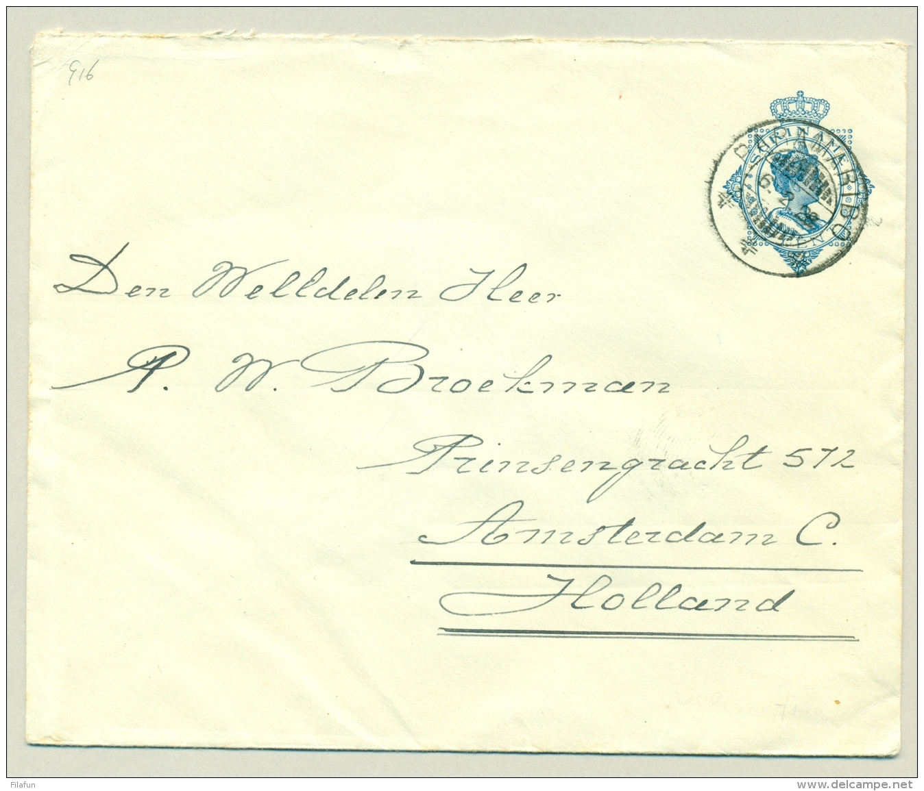 Suriname - 1928 - 15 Cent Envelop Wilhelmina In Ovaal, G16 Van Paramaribo Naar Amsterdam - Suriname ... - 1975