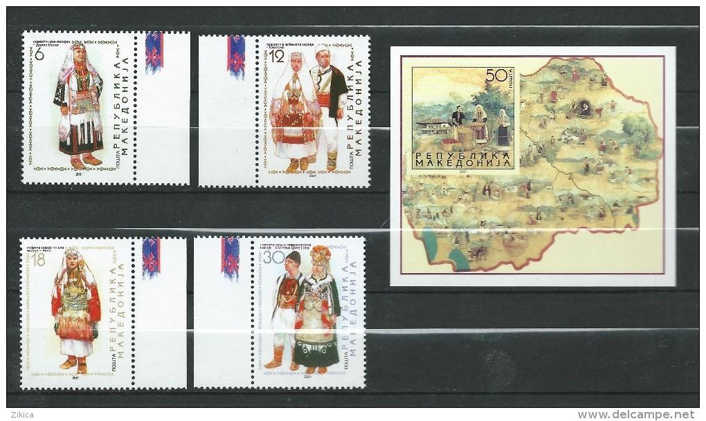 Macedonia / Macedoine 2001 Folk Costumes.S/S And Stamps.MNH - Macedonia