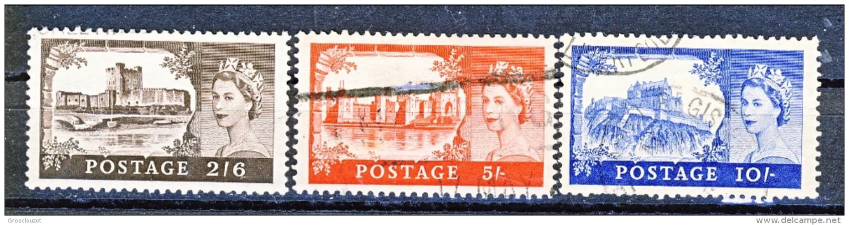 UK Elisabetta II 1955 Castelli E Effige. Serietta 283-285 Filigrana 21 Usati Catalogo € 15 - 1952-.... (Elizabeth II)