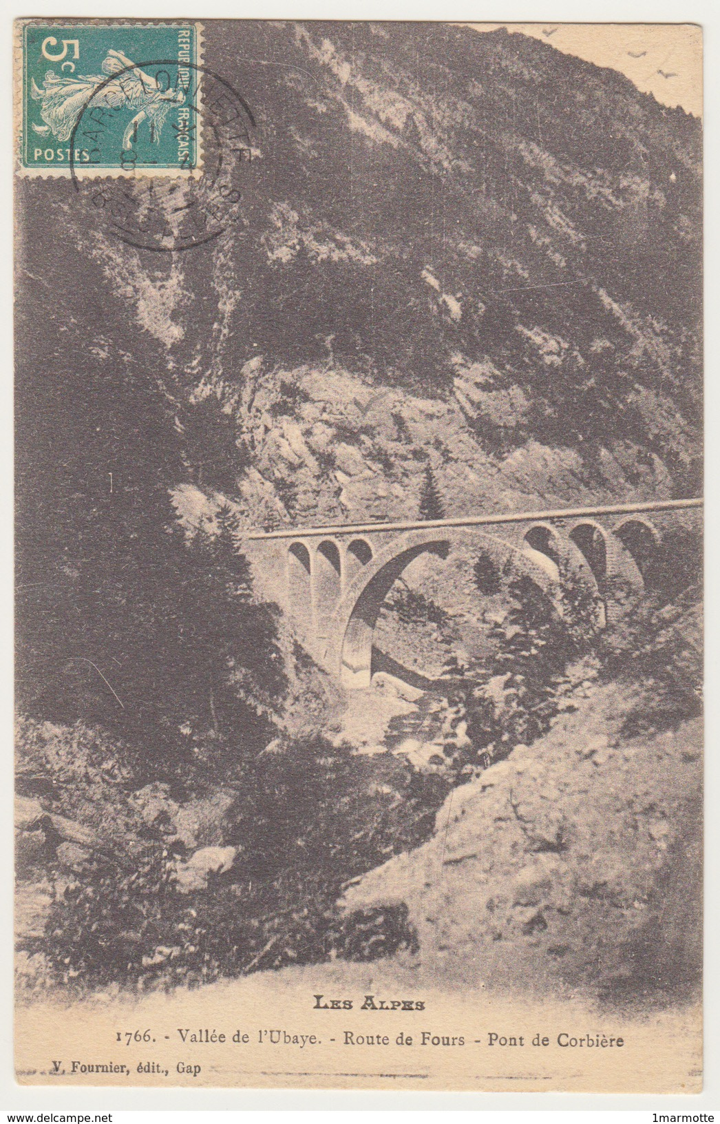 FOURS - Route De Fours - Vue Du Pont De Corbière - Particularité : Inversion Jour Et Mois Dans Bloc Dateur Barcelonnette - France