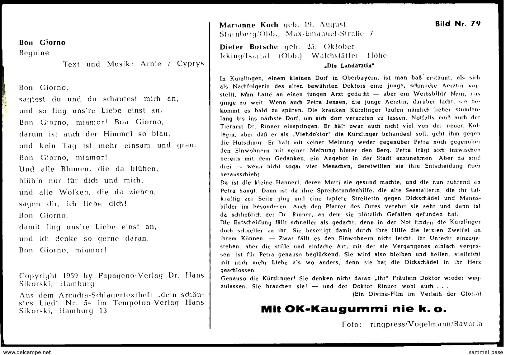 Ca. 1958  -  Sammelbild OK-Kaugummi  -  Marianne Koch / Dieter Borsche  -  Bild Nr. 79 - Süsswaren