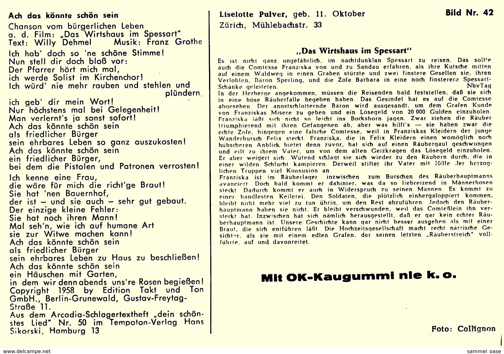Ca. 1958  -  Sammelbild OK-Kaugummi  -  Liselotte Pulver  -  Bild Nr. 42 - Süsswaren