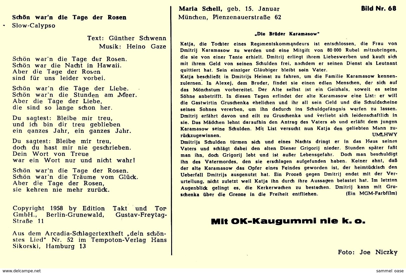 Ca. 1958  -  Sammelbild OK-Kaugummi  -  Maria Schell  -  Bild Nr. 68 - Süsswaren