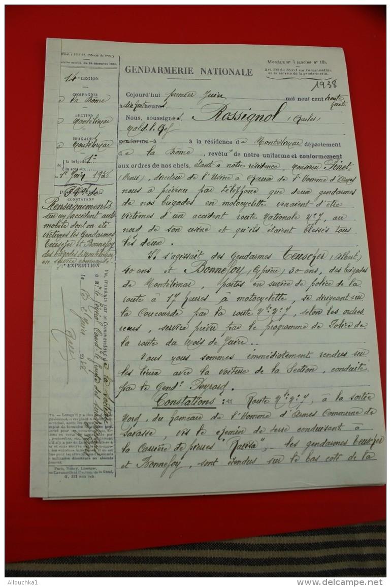 ACCIDENT AUTOMOBILE SCE COMMANDé Mchal Logis Chef Rossignol 1938 DOCUMENT Militaire >14e Légion Gendarmerie MONTELIMA - Documents