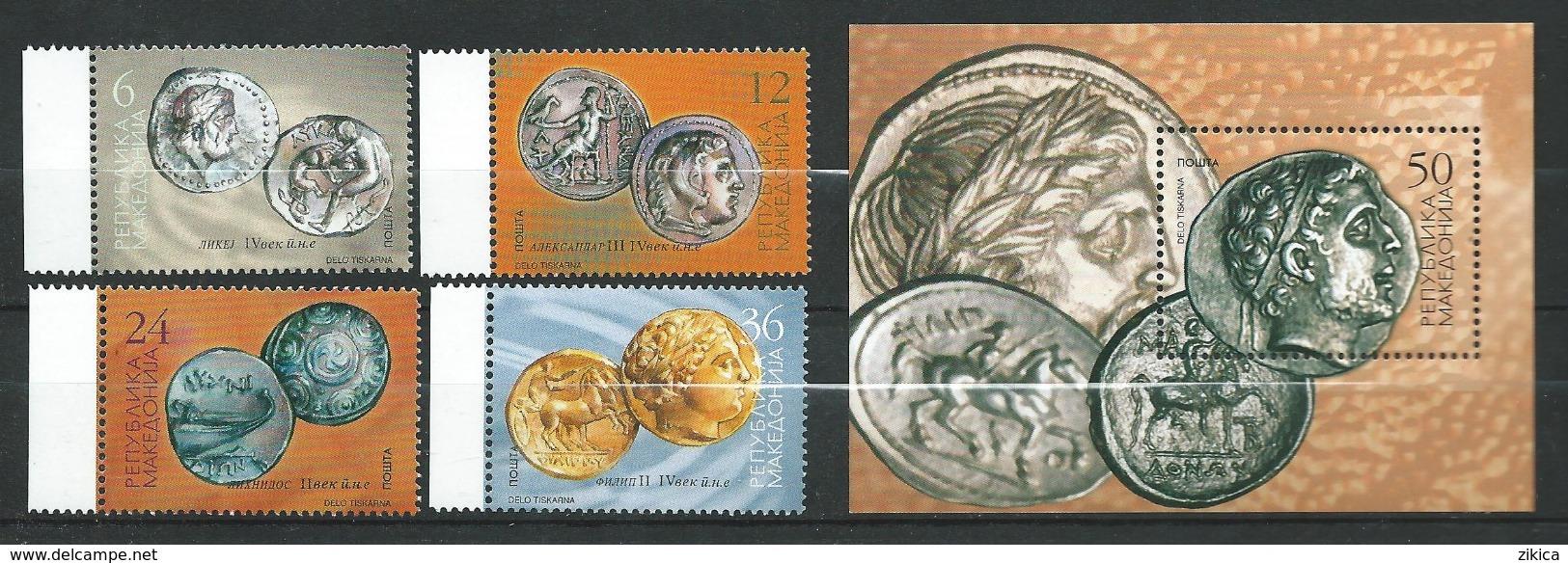 Macedonia / Macedoine 2002 Cultural Heritage - Coins.Stamp And Block.MNH - Macedonia