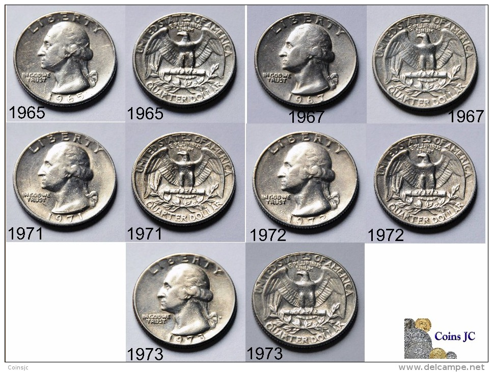 US - 5 Coins - Quarter Dollar - (1965-1967-1971-1972-1973) - Federal Issues