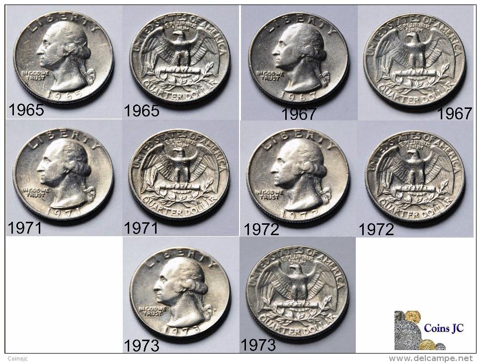 US - 5 Coins - Quarter Dollar - (1965-1967-1971-1972-1973) - Emissioni Federali