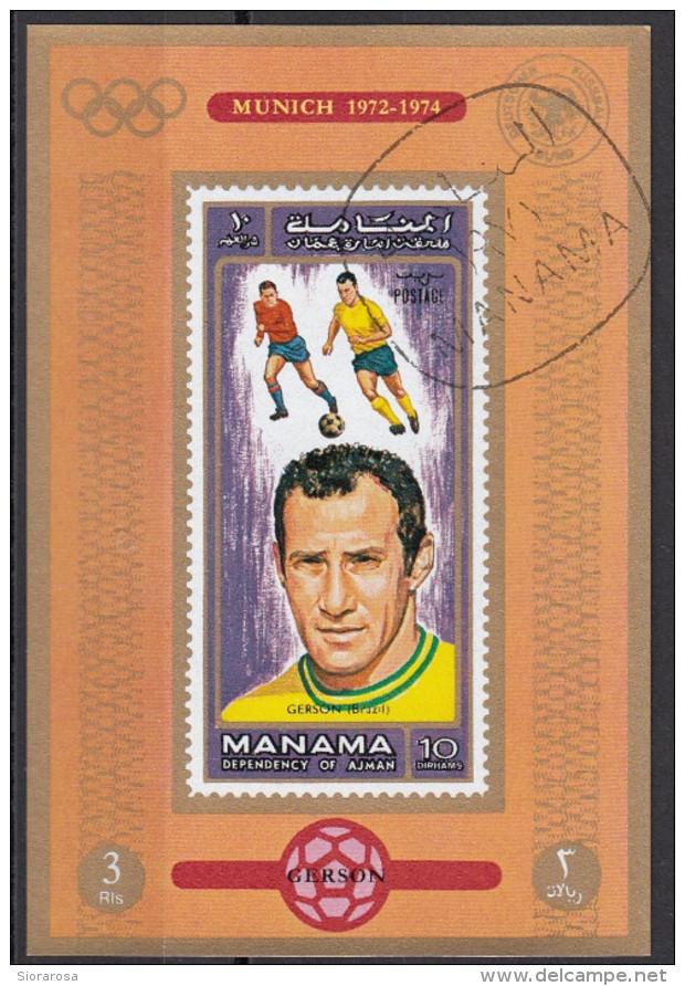 719 Manama 1972 Soccer Calcio Football Brasile Gerson Monaco Munich 1974 Imperf. FIFA World Cup BOTAFOGO - Coppa Del Mondo