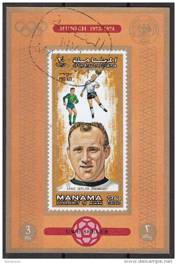 721 Manama 1972 Soccer Calcio Football Brasile Uwe Seeler Monaco Munich 1974 Imperf. FIFA World Cup Amburgo - Coppa Del Mondo