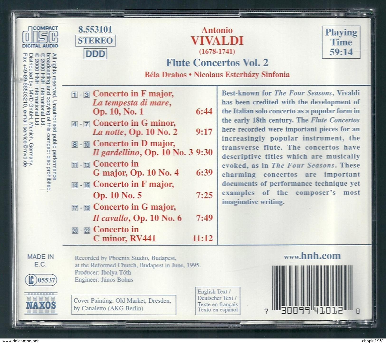 CD CLASSIQUE - VIVALDI : CONCERTOS POUR FLÛTE - BELA DRAHOS , Flûte - Klassik