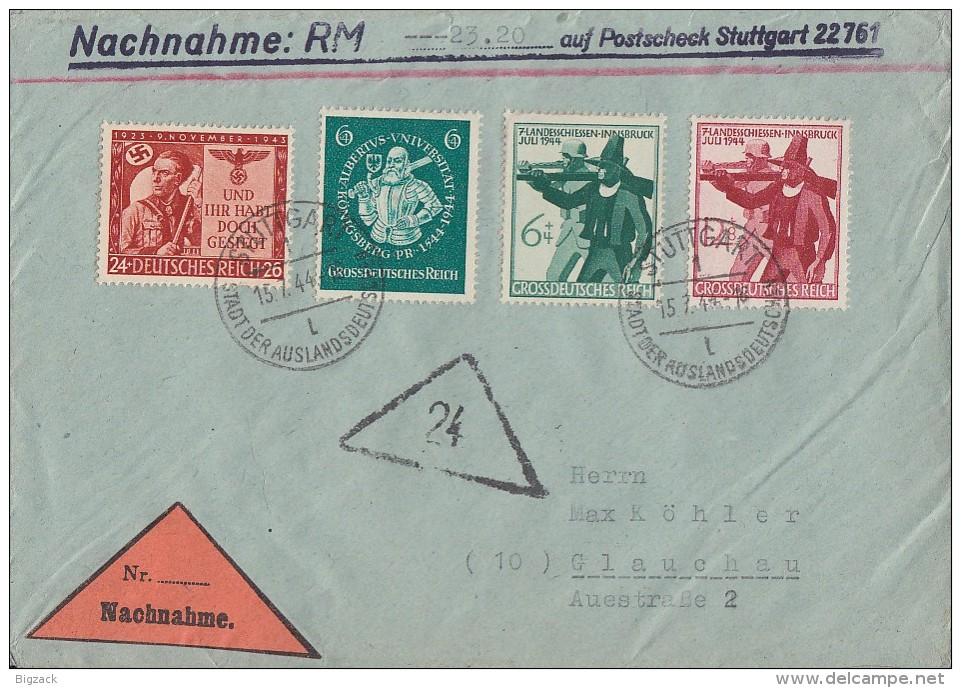 DR NN-Brief Mif Minr.863,896,897,898 Stuttgart 15.7.44 - Briefe U. Dokumente