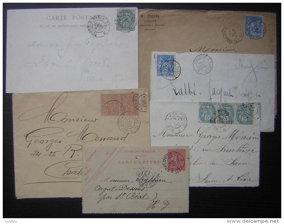 Lot De 6 Lettres Avec Cachets Ambulants De La Fin Du 19ème Siècle Et Début 20ème, Voir Photos Pour Le Détail - Poststempel (Briefe)