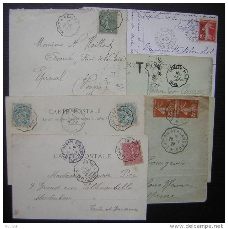 Lot De 6 Cartes Et Lettres Avec Cachets Ambulants Début 20ème, Voir Photos Pour Le Détail - Poststempel (Briefe)