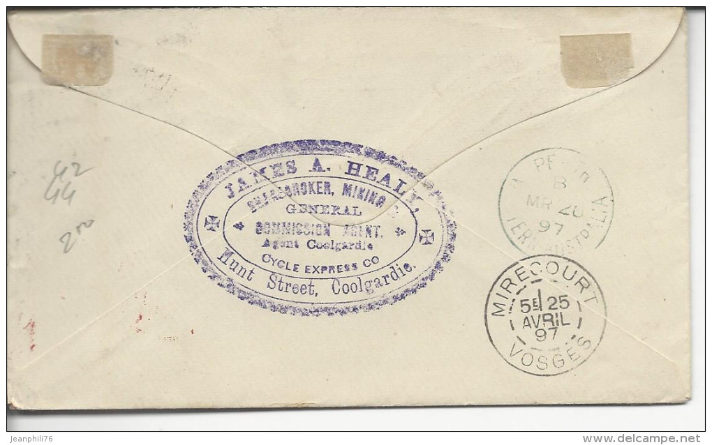"""Coolgardie >>Mirecourt Timbres 42,44 """"per Coolgardie Cycle Express Co - Covers & Documents"""