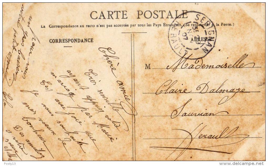 SERVIAN (34)  - CPA Inondations Septembre 1907 -  Etat : Jaunie - France