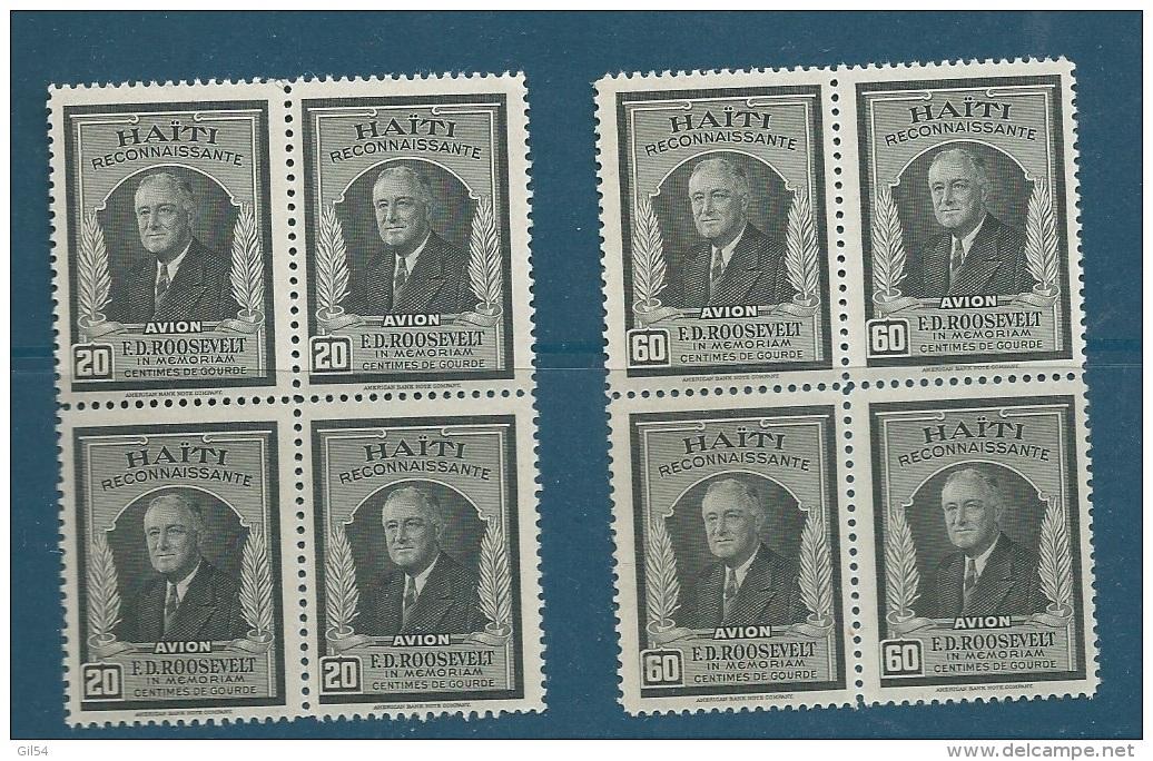 Haiti - AERIEN  - Serie Yvert N° 33 Et 34 ** Bloc De 4 Très Légère Rousseur Au Dos - Cw0305 - Haiti