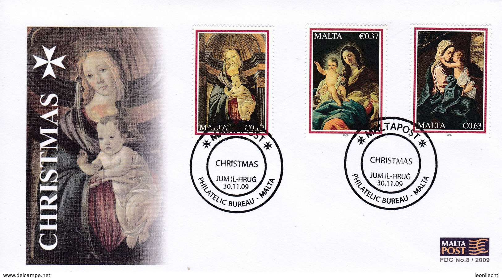 Malta, FDC N°. 8 . 30.11.09. Christmas - Christianisme