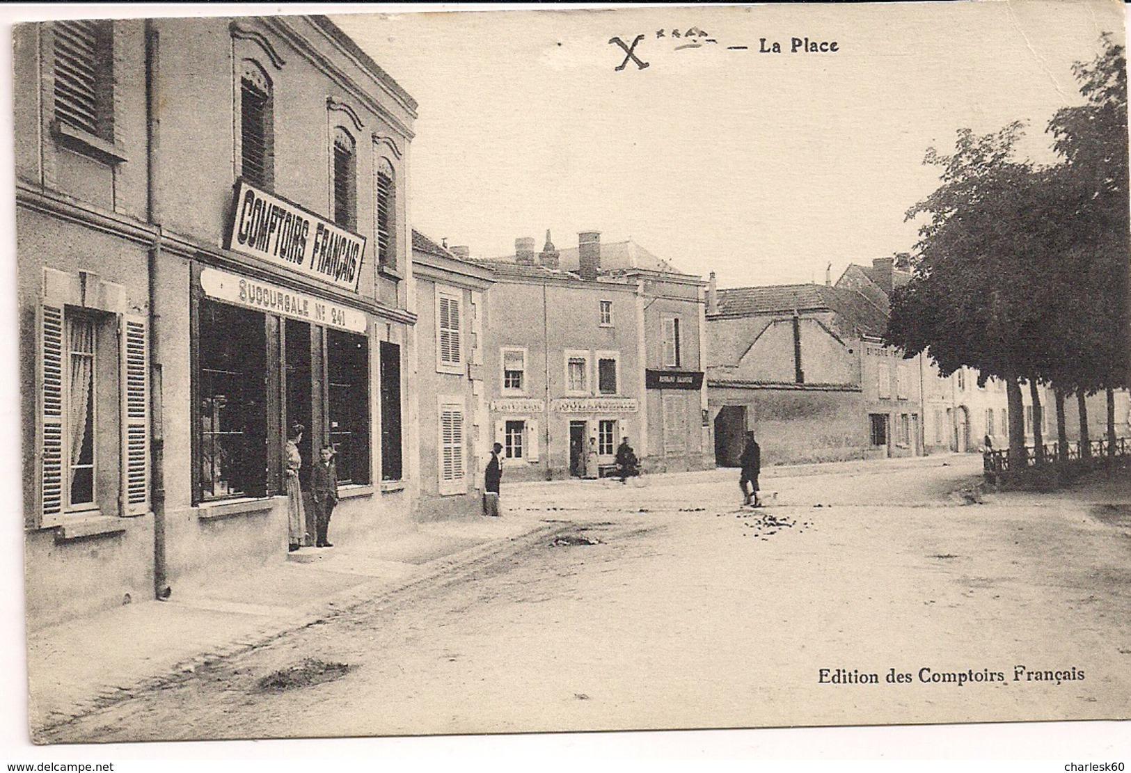 CPA Animée Guerre 1914 1918 Marne Hermonville Comptoirs Français Succursale N° 241 Rue De Fismes La Place 1914 - Reims