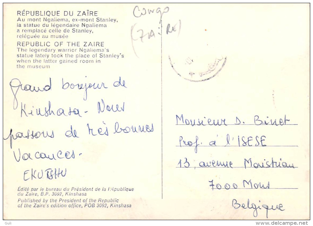 Afrique > CONGO République Du Zaïre La Statue NGALIEMA Au Mont Ngaliema Ex-mont Stanley*PRIX FIXE - Congo - Kinshasa (ex Zaire)