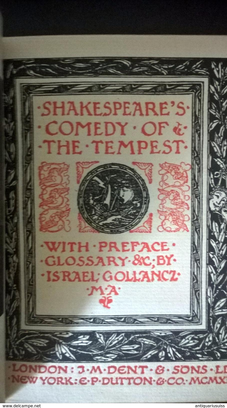 1919 - Shakespeare's - THE TEMPEST - Non Sans Droict - Essais Et Discours