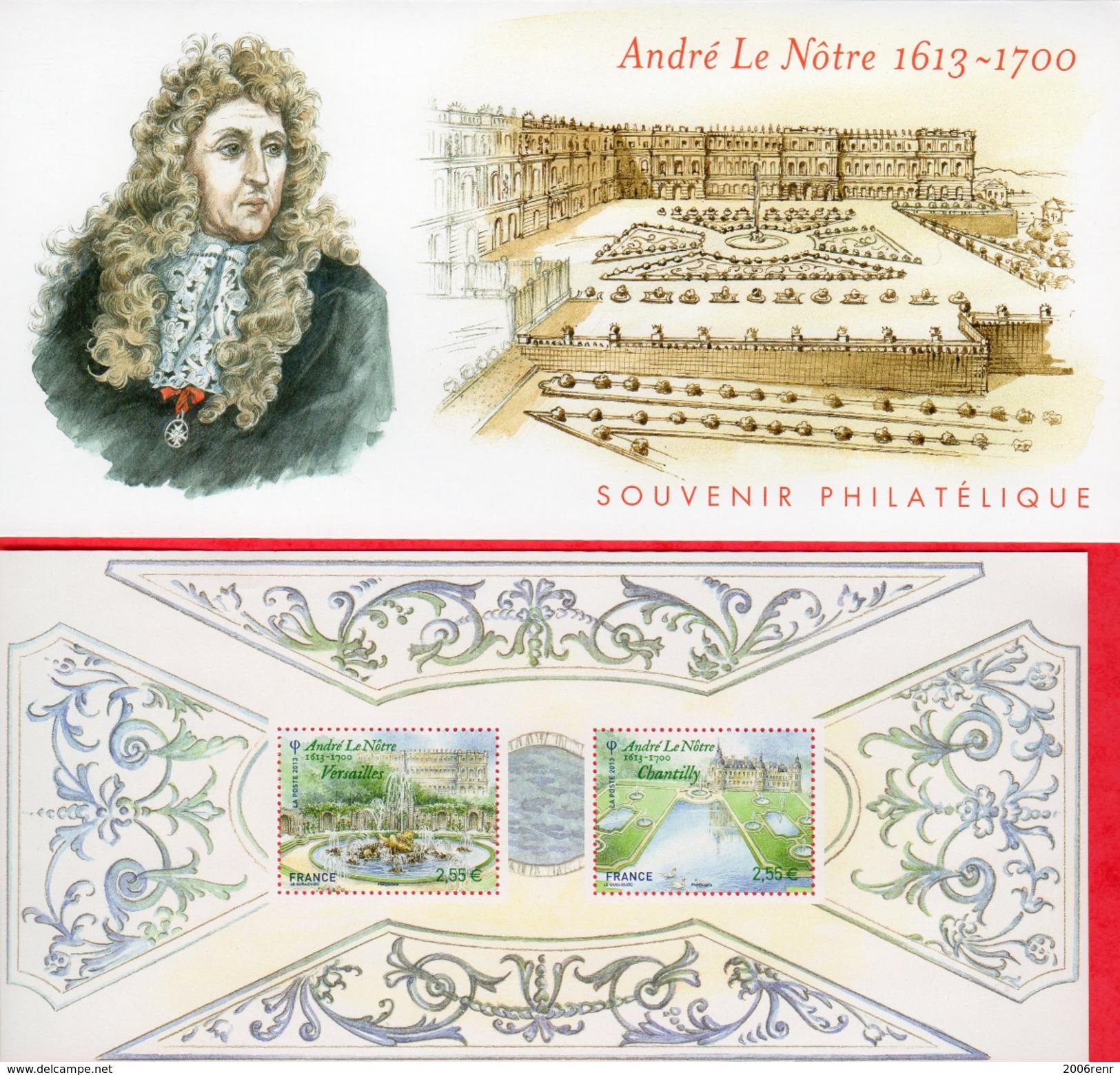 FRANCE  BLOC SOUVENIR N° 80 JARDINS DE FRANCE ANDRE LE NÔTRE NEUF** SOUS BLISTER NON OUVERT. - Bloc De Notas & Hojas