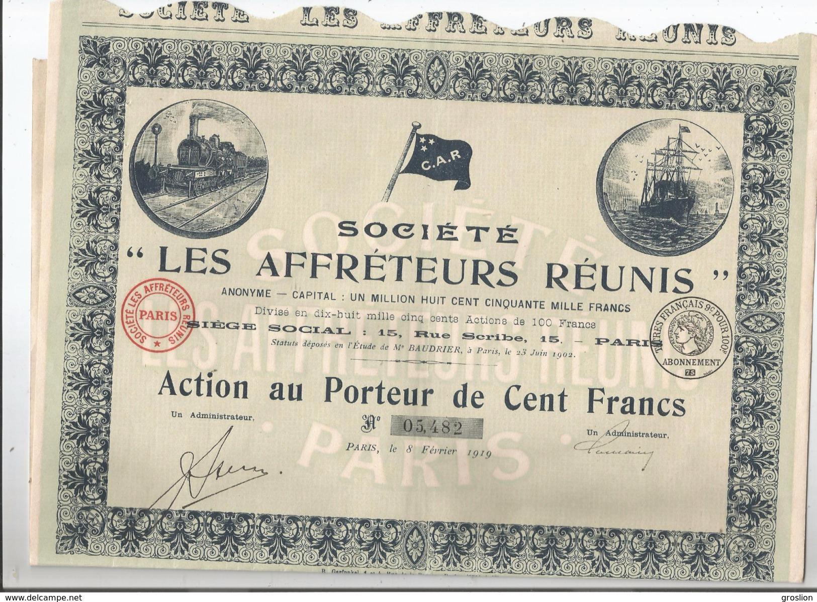 ACTION DES AFFRETEURS REUNIS PARIS 1919 (ILLUSTRATION TRAIN  DRAPEAU ET BATEAU) - Transports