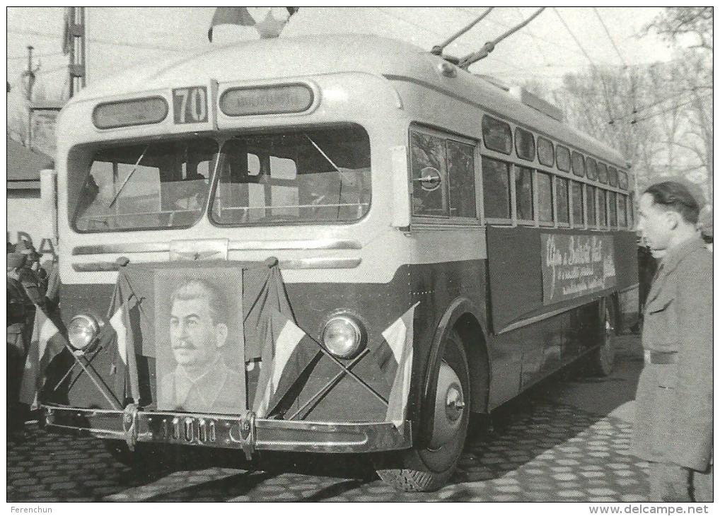 BUS AUTOBUS TROLLEY TROLLEYBUS GMC CITYBUS BKV * JOSEPH STALIN FLAG VAROSLIGETI FASOR BUDAPEST * Reg Volt 0199 * Hungary - Bus & Autocars