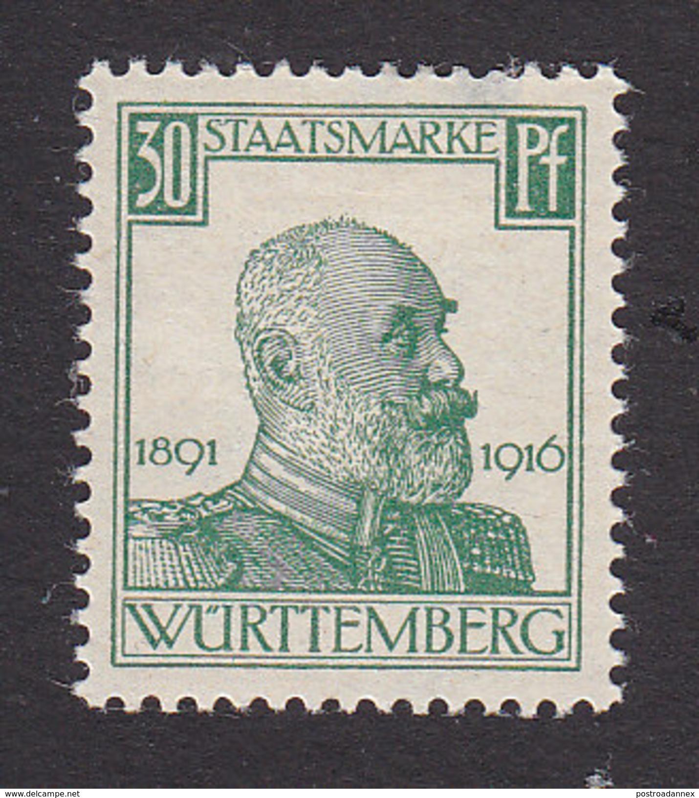 Wurttemberg, Scott #O142, Mint Hinged, King Wilhelm I, Issued 1916 - Wurttemberg