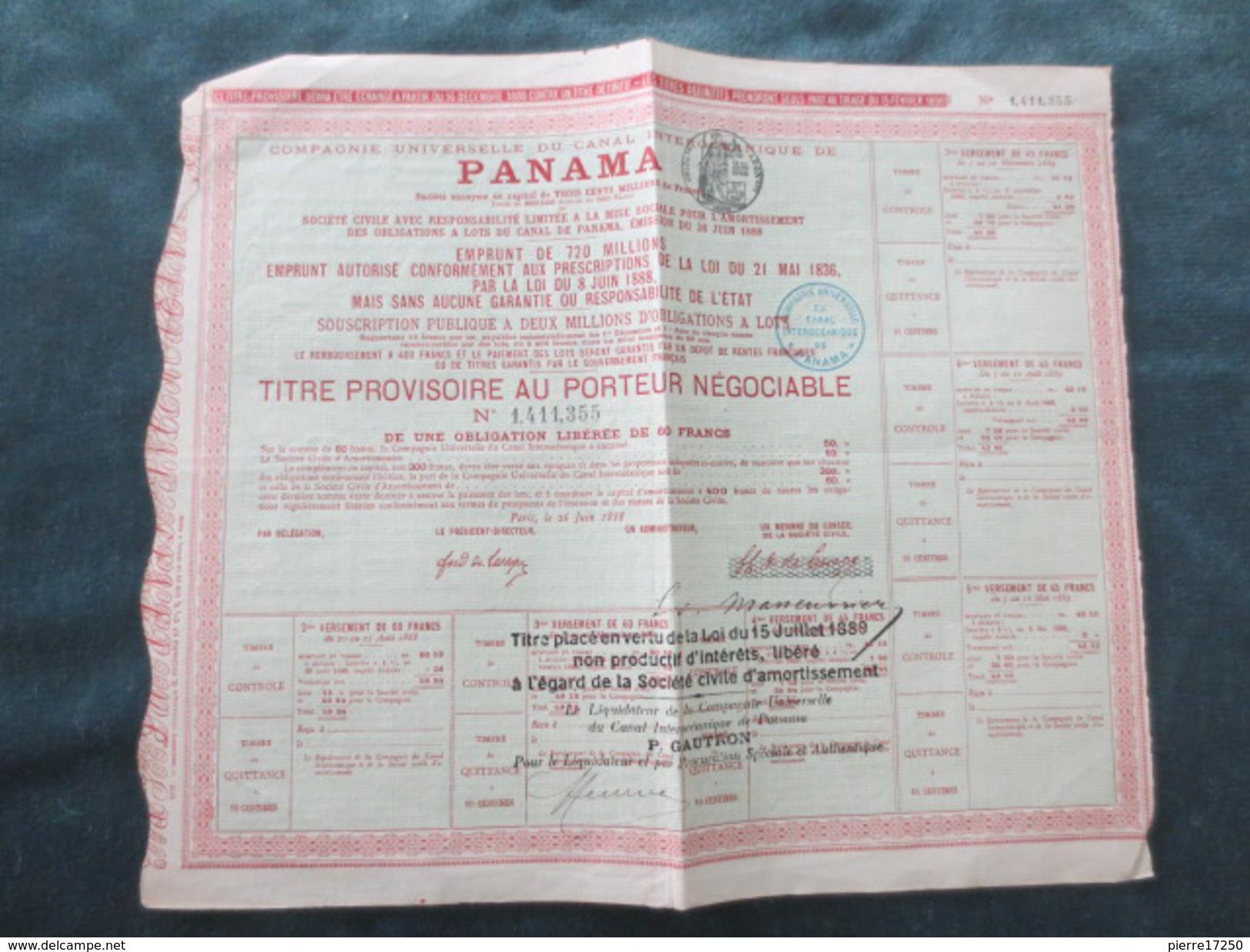 Emprunts Panama  1888 - Panama