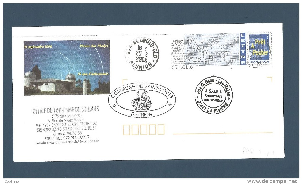 """REUNION - PAP Avec Flamme """"Plaine Des Makes - Observatoire Astronomique"""",  Saint Louis - 2006 - Reunion Island (1852-1975)"""