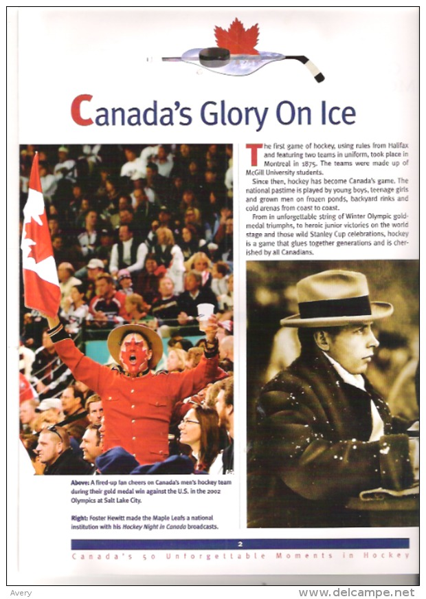 Greatest Moments In Canada Hockey History Collector's Edition Edited By Mike Bynum - 1950-Now