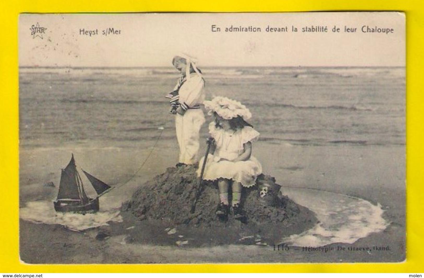KINDEREN ZANDKASTEEL STRAND Ca©1910 CONSTRUCTION D'UN FORT PLAGE HEIST Heemkunde Kind Enfant Child Jeu MODE KNOKKE - Heist