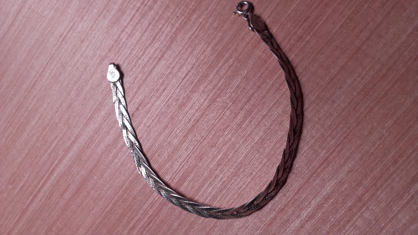 Bracelet ,argent,silver.maille Plate Tresse. - Ethnics