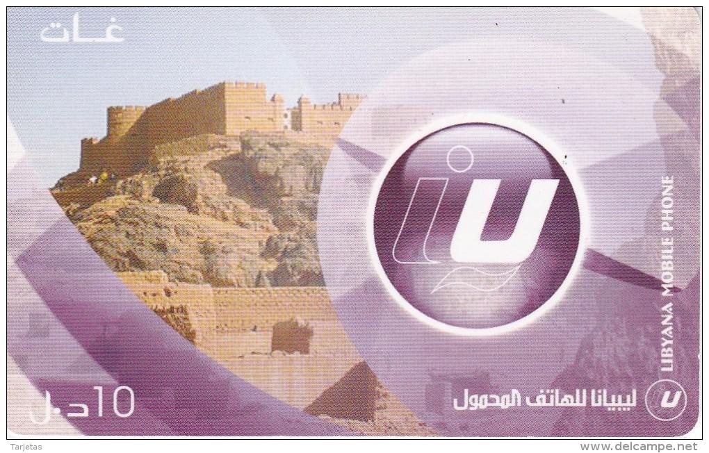 TARJETA DE LIBIA DE 10 UNITS DE UN CASTILLO - CASTLE (LIBYANA MOBILE) - Libye