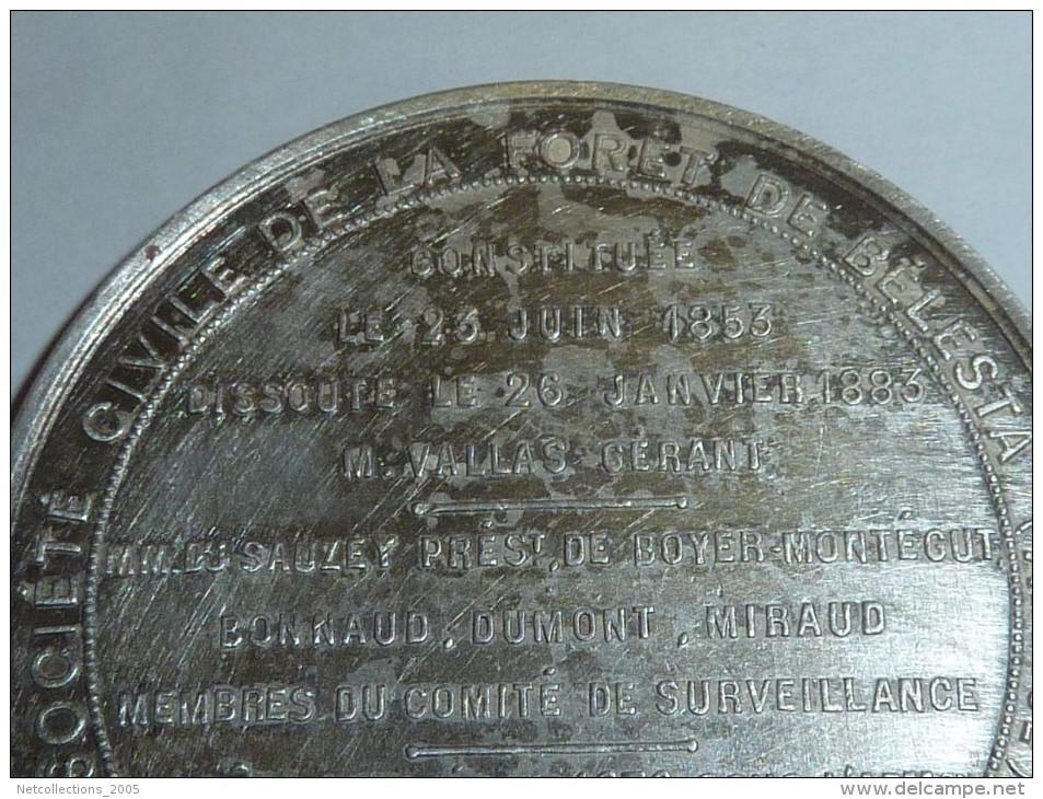 MEDAILLE EN ARGENT DE LA SOCIETE CIVILE DE LA FORET DE BELESTA (ARIEGE), SIEGE A ROANNE (LOIRE) - Touristiques