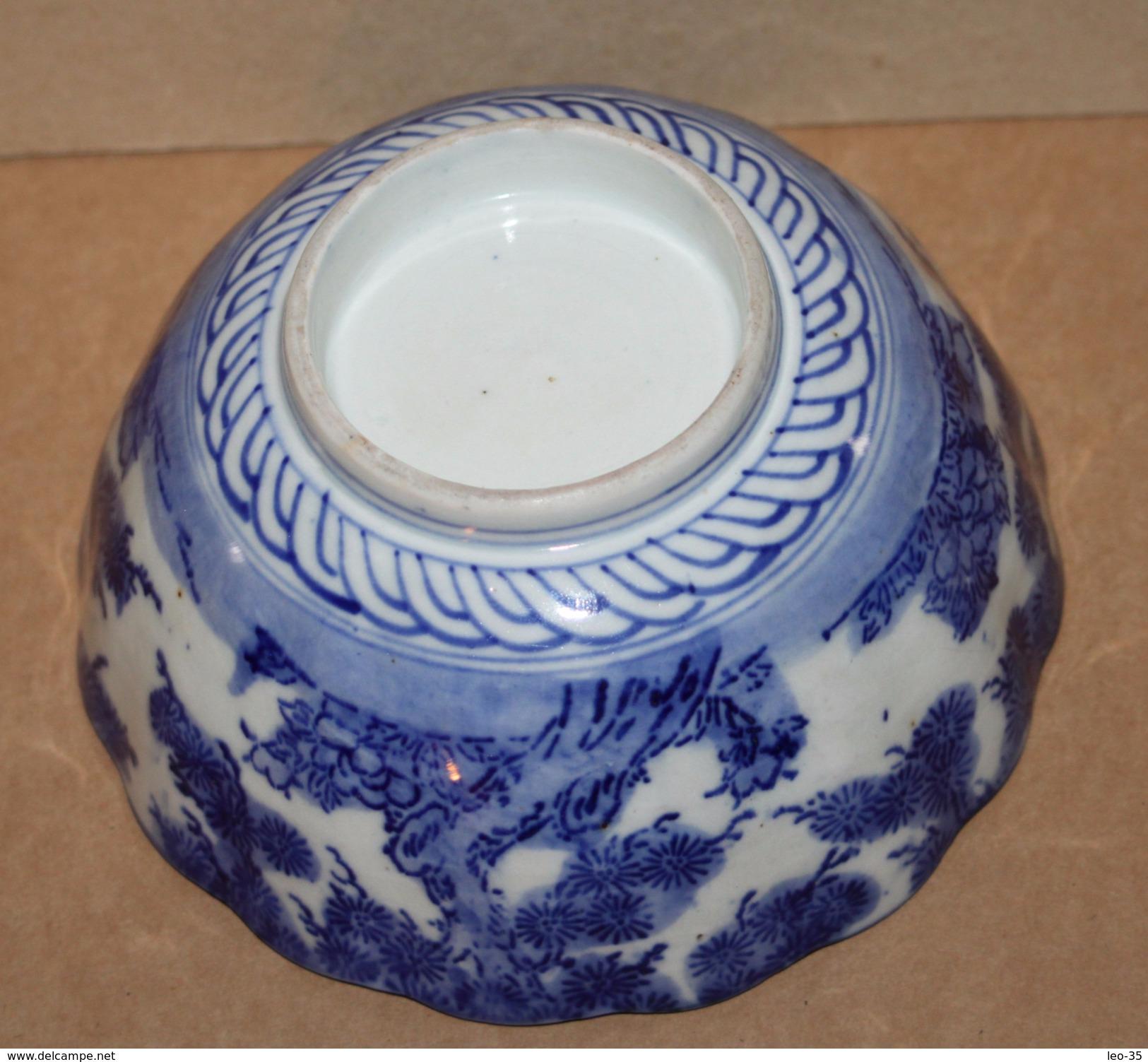Grand Bol En Céramique Bleu Blanc Chine Japon -  Art Japanese Chinese - Asian Art