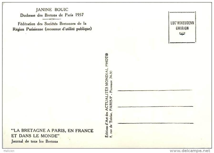 -ref-T361- Finistere - Janine Bouic - Duchesse Des Bretons A Paris - Federation Des Societes Bretonnes Region Parisienne - France