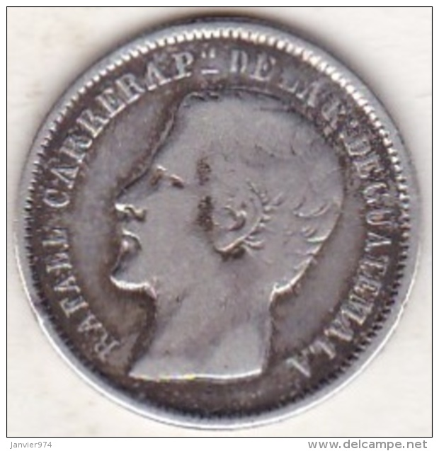 GUATEMALA ,UN REAL 1865 R , RAFAEL CARRERA. ARGENT .KM#137.1. - Guatemala