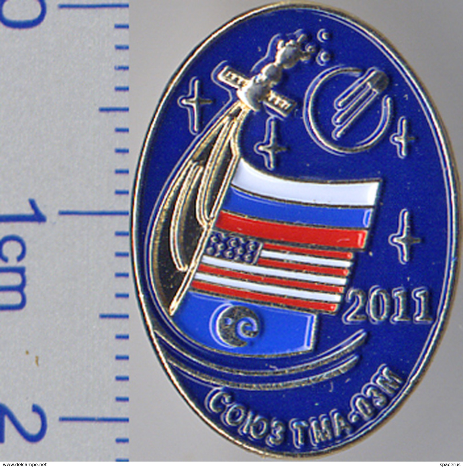 "125 Space Soviet Russia Pin. Soyuz TMA-03M. Corporation ""Energia"" Russia-USA-ESA 2011 - Space"