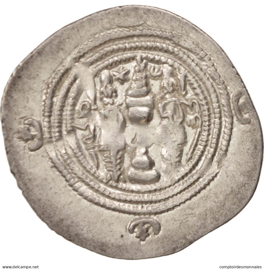 Xusros II, Drachm, 630 AD, TTB, Argent - Orientales