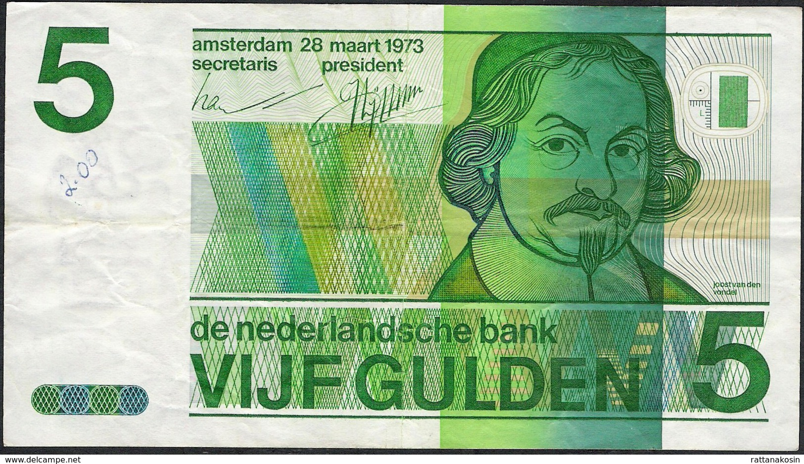 PAYS-BAS  P95  5  GULDEN   1973  Small Writing Otherwise VF, NO P. H. ! - 5 Florín Holandés (gulden)