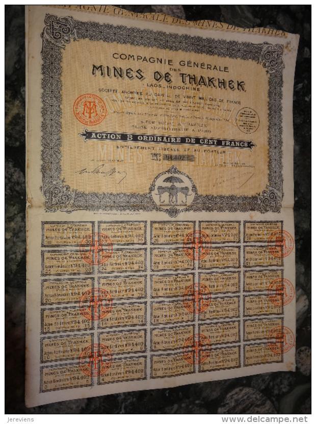Emprunts Obligations Mines De Thakhek  Laos Indochine  1928 - Asie